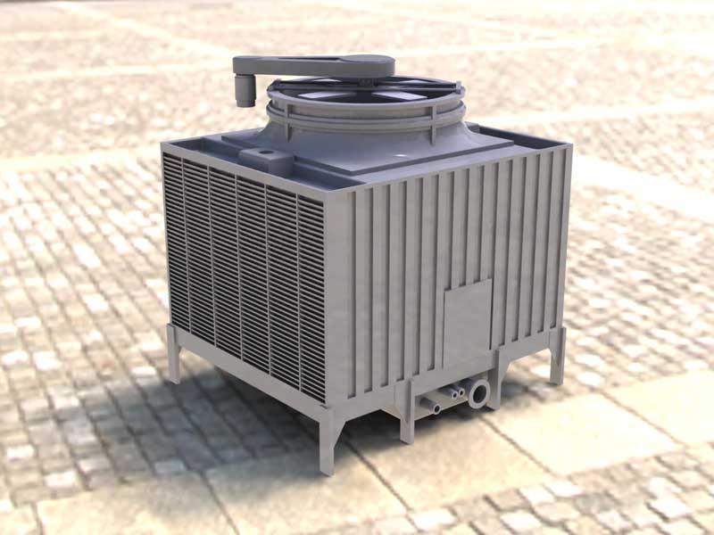 فایل 3D CAD برج خنک کننده ساختمانی رندر شده