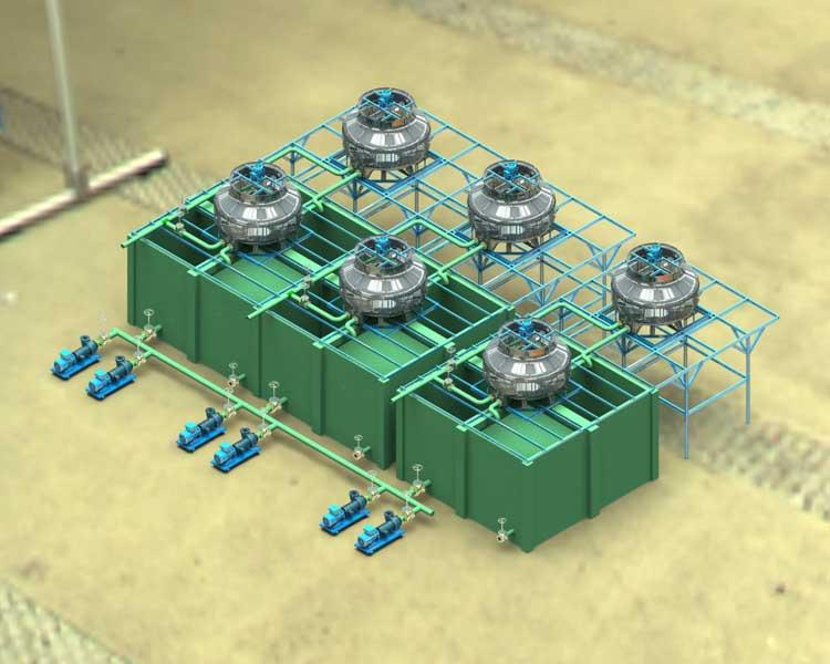 فایل 3D CAD برج خنک کننده صنعتی و ساختمانی رندر شده